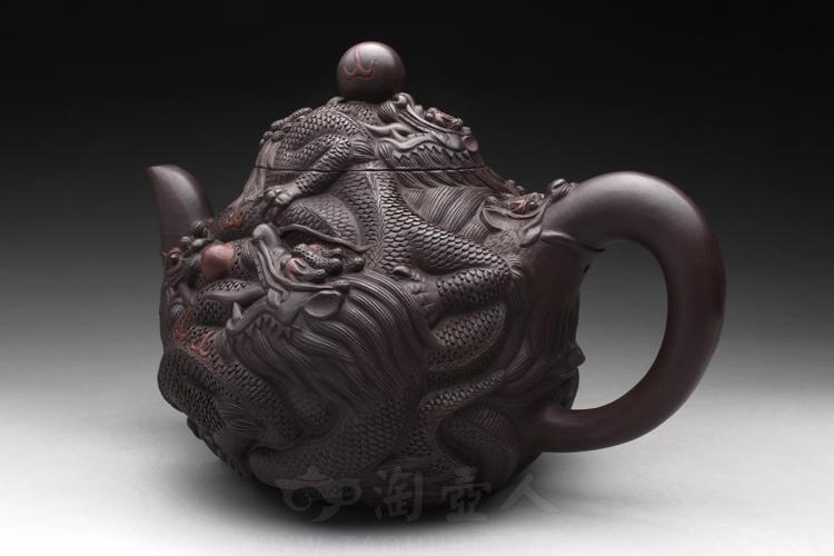宜兴紫砂壶名家葛岳纯紫砂壶-九龙(大)壶