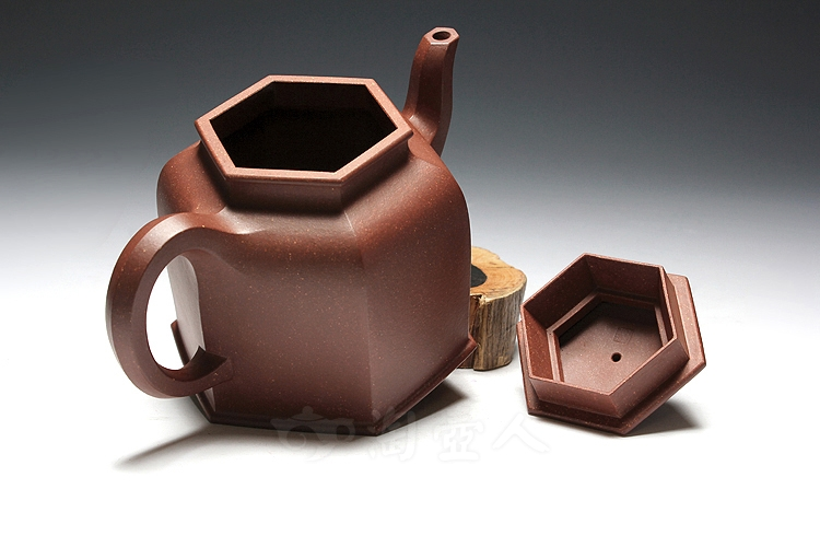 宜兴紫砂壶名家周志良紫砂壶-六方金钟壶