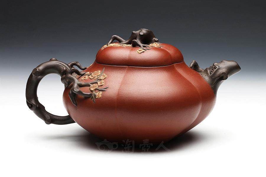 宜兴紫砂壶名家李宝珍紫砂壶-四色合梅(民国)壶