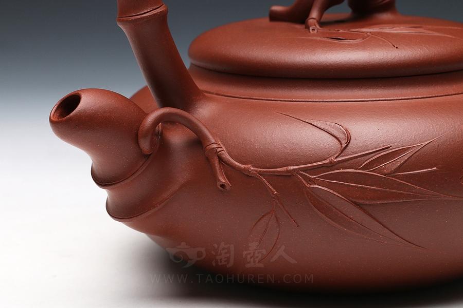 宜兴紫砂壶名家黄自英紫砂壶-佛竹提梁壶