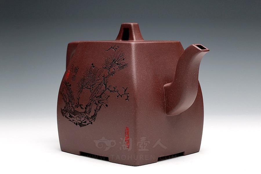 宜兴紫砂壶名家厉上清紫砂壶-权方壶