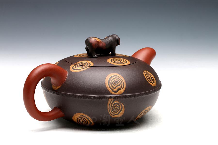 宜兴紫砂壶名家孟小军紫砂壶-金猪纳福(绞泥)壶
