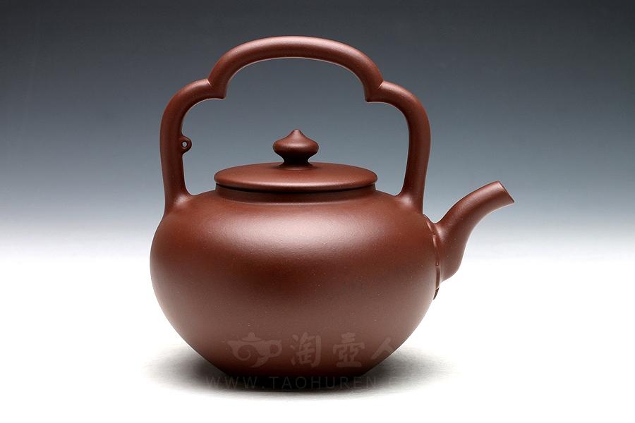 宜兴紫砂壶名家周桂珍紫砂壶-古珍提梁壶