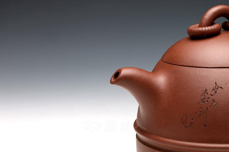宜兴紫砂壶名家顾婷紫砂壶-长乐永泉(任小松装饰)壶