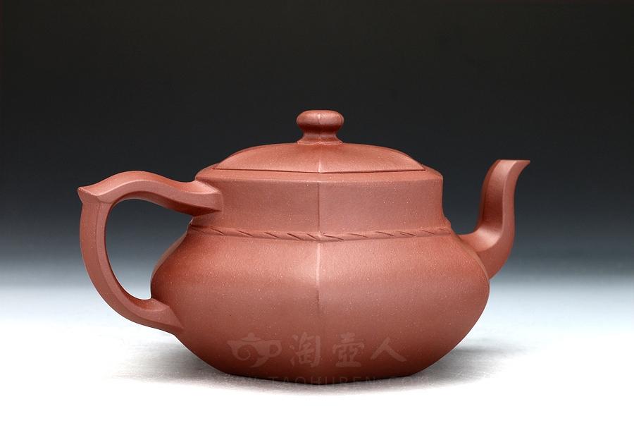 宜兴紫砂壶名家周志良紫砂壶-裙六方壶