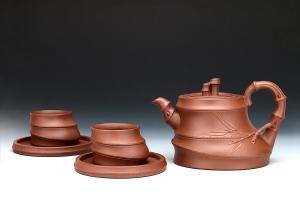 五头竹根茶具
