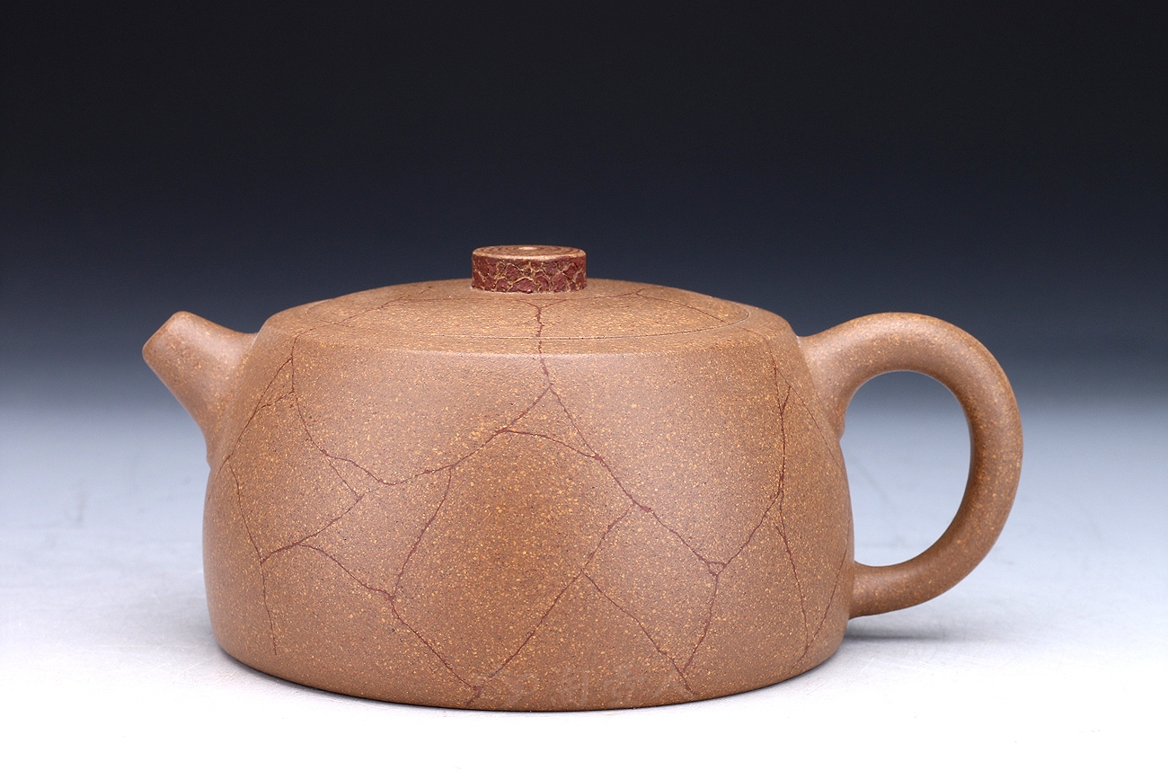 宜兴紫砂壶名家顾婷紫砂壶-冰纹井栏(仅3把)壶