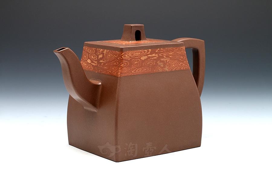 宜兴紫砂壶名家孔春华紫砂壶-锦带汉方壶