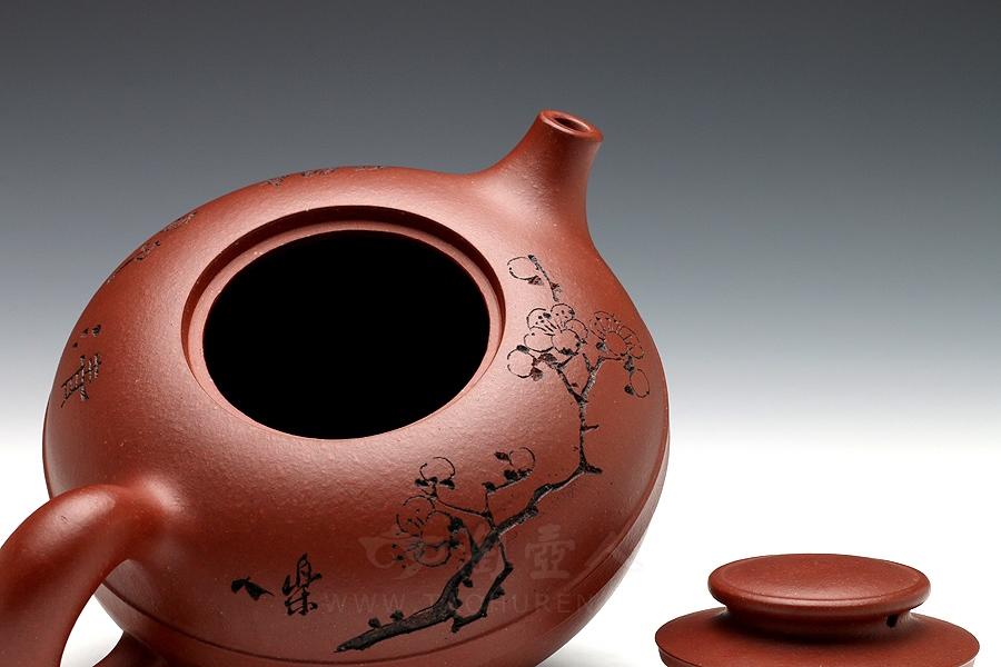 宜兴紫砂壶名家周志君紫砂壶-玉带君福(鲍志强装饰)壶