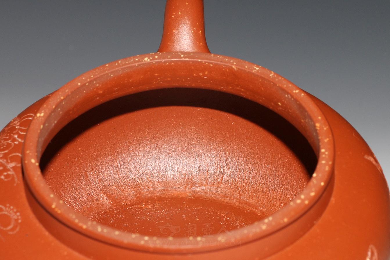 宜兴紫砂壶名家刘一飞紫砂壶-全手秋硕(红泥)壶