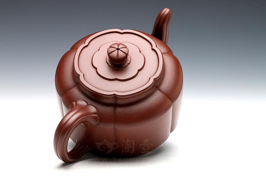宜兴紫砂壶名家袁小强紫砂壶-全手梅花周盘(中)壶