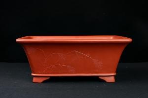 红泥长方本色泥绘慕古盆(施小马监制··限量3个)